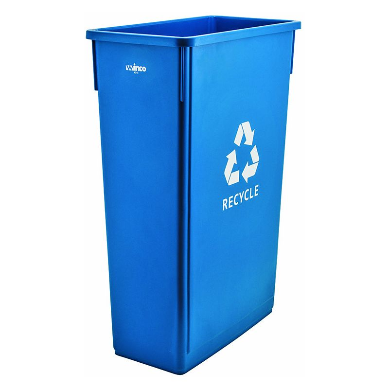 23gal Slender Trash Can, Blue, RECYCLE