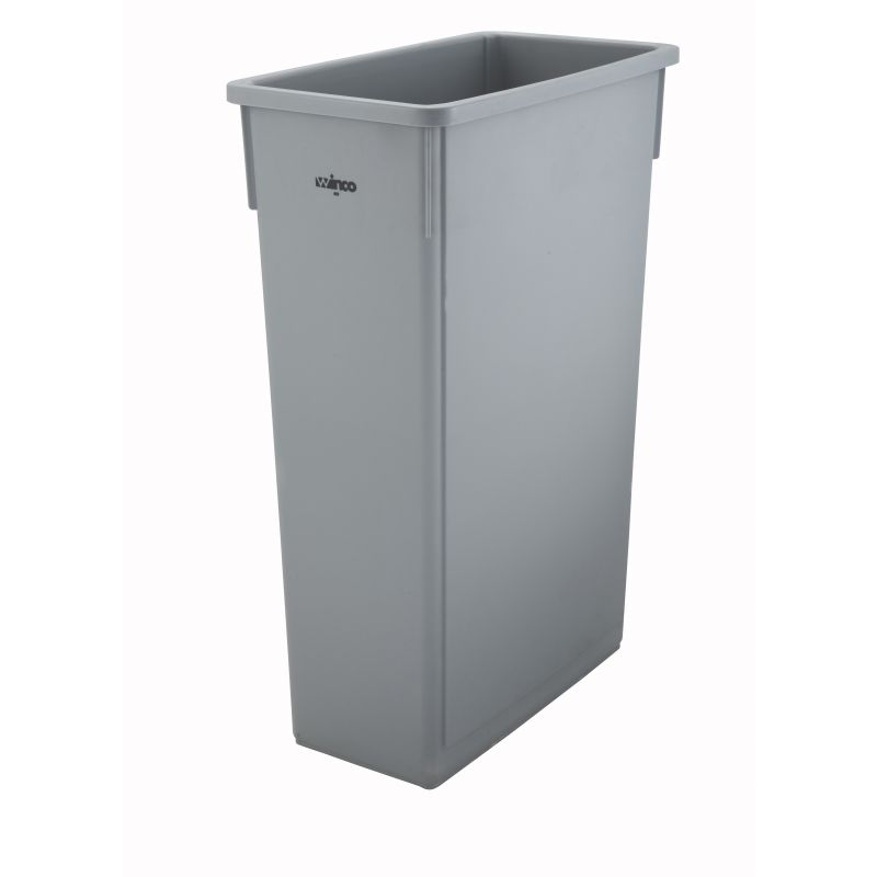 23gal Slender Trash Can, Gray