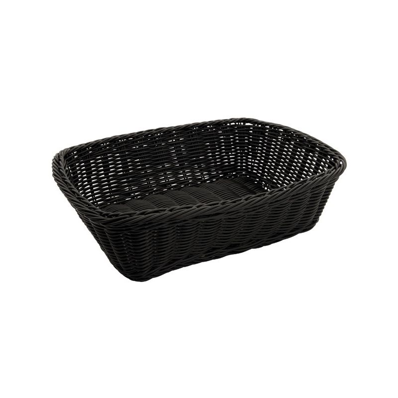 Poly Woven Baskets, Rectangular, 11-1/2 inches x 8-1/2 inches x 3-1/2 inches, Black, 12pcs/pk