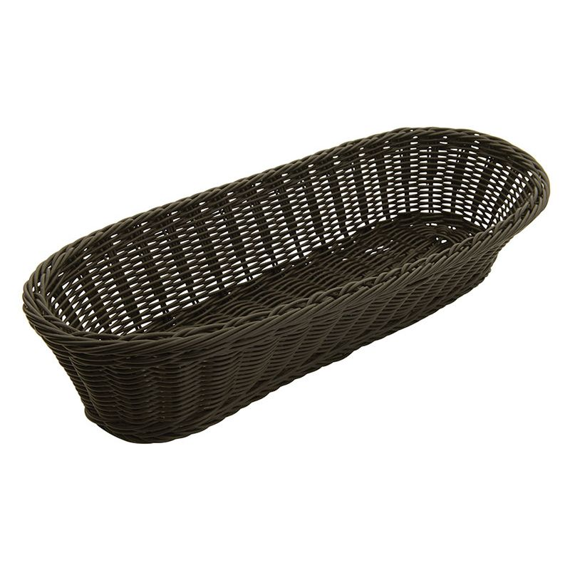 Poly Woven Baskets, Oval, 15 inches x 6-1/2 inches x 3-1/4 inches, Black, 6pcs/pk