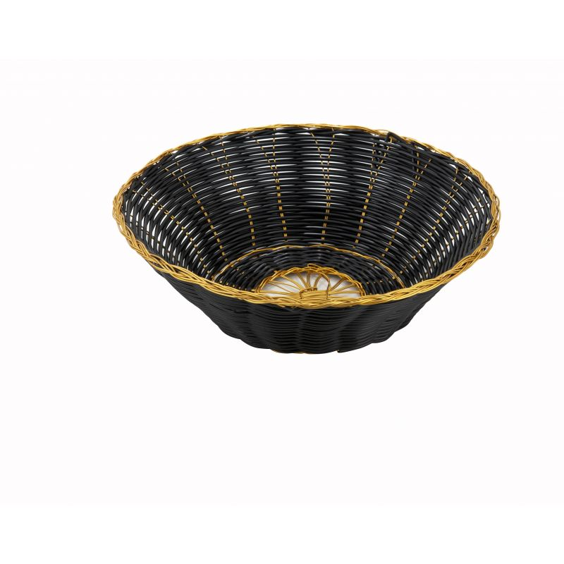 Poly Woven Baskets, Round, 8-1/4 inches x 2-1/4 inches, Black/Gold