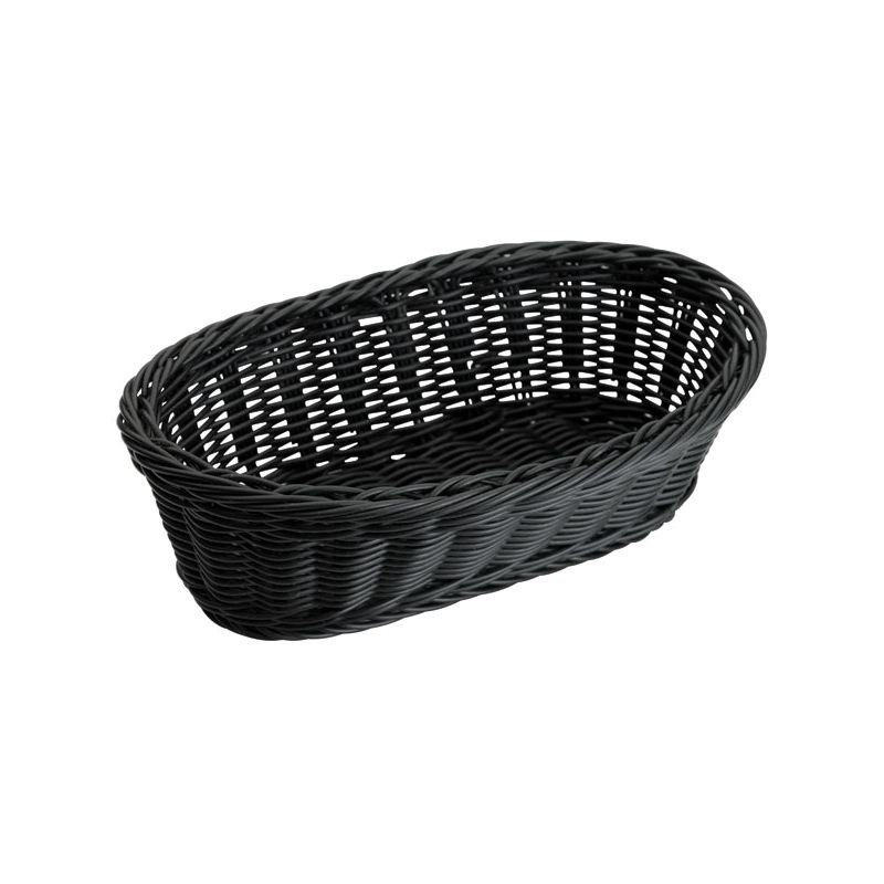 Poly Woven Baskets, Oval, 9 inches x 4-1/2 inches x 3 inches, Black, 6pcs/pk