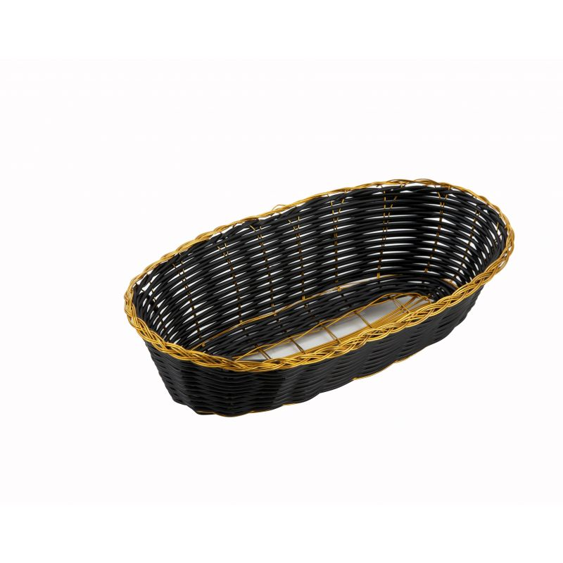Poly Woven Baskets, Oval, 8-3/4 inches x 3-7/8 inches x 2 inches, Black/Gold