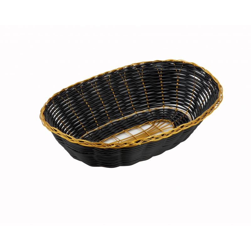 Poly Woven Baskets, Oval, 9 inches x 7 inches x 2-3/4 inches, Black/Gold