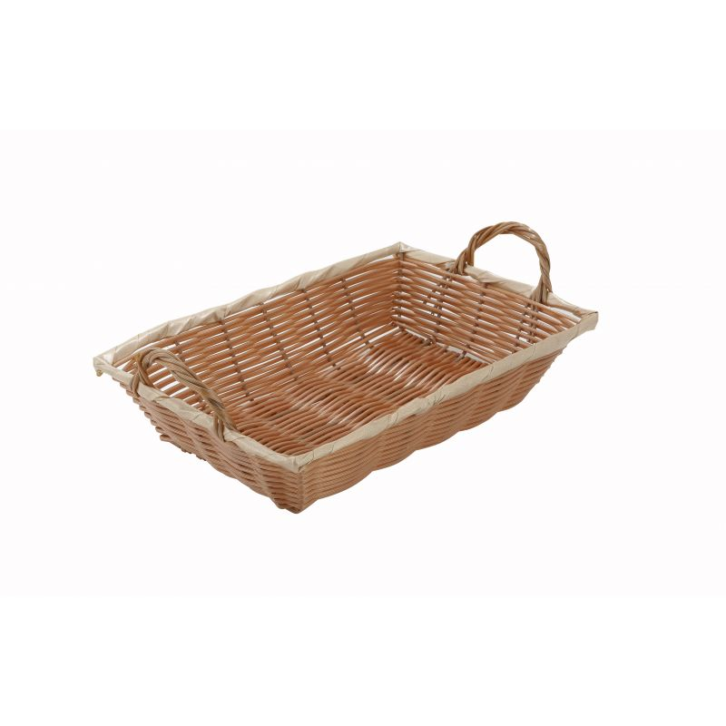 Poly Woven Basket, Rectangular w/Hdls, 12 inches x 8 inches x 3 inches, Natural