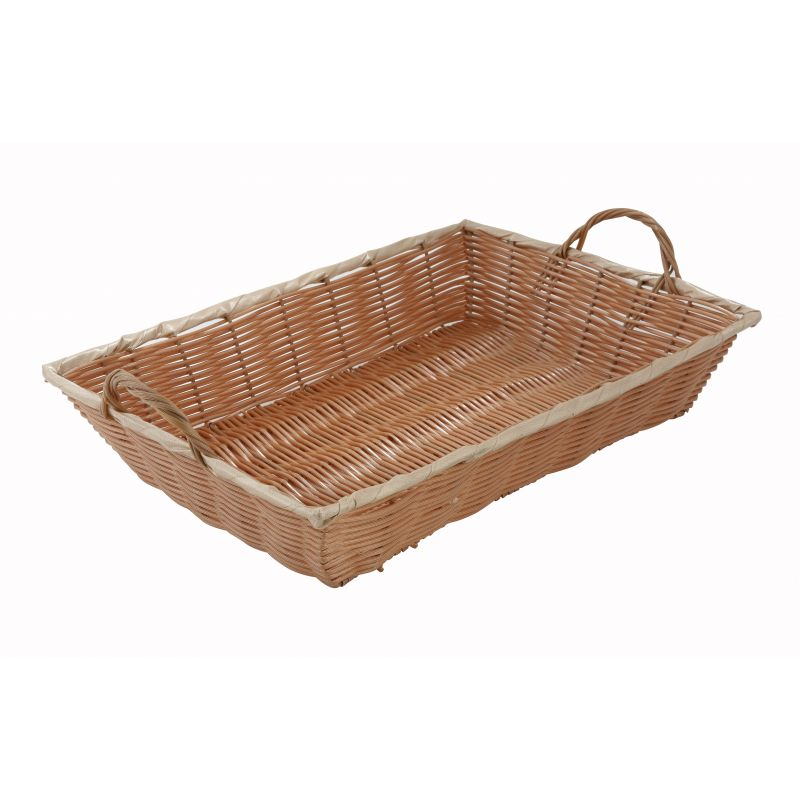 Poly Woven Basket, Rectangular w/Hdls, 16 inches x 11 inches x 3 inches, Natural