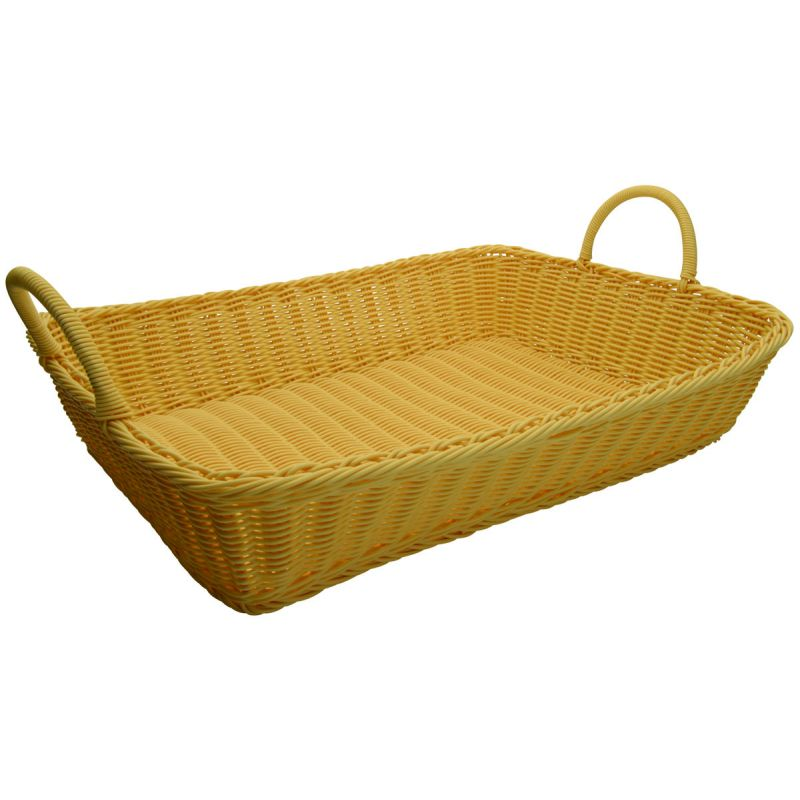Poly Woven Baskets, Rectangular w/Hdls, 19 inches x 14 inches x 4 inches, Natural, 3pcs/pk