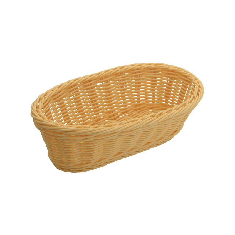 Poly Woven Baskets, Oval, 9 inches x 4-1/2 inches x 3 inches, Natural, 6pcs/pk