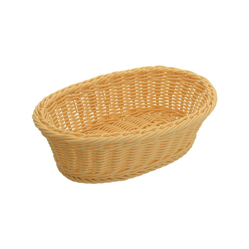 Poly Woven Baskets, Oval, 9-1/4 inches x 6-1/4 inches x 3-1/4 inches, Natural, 6pcs/pk
