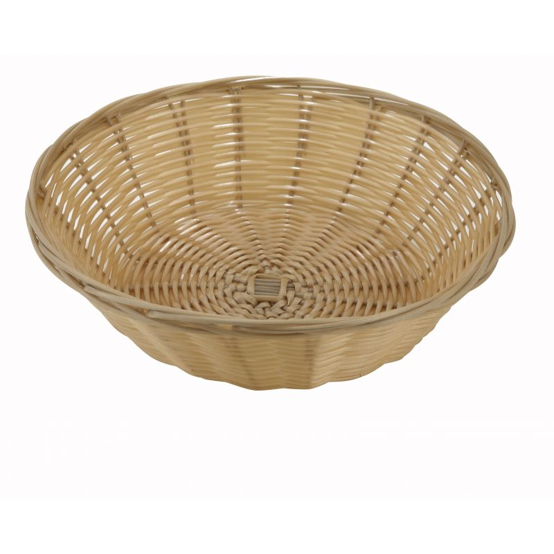 Poly Woven Baskets, Round, 9 inches x 2-3/4 inches, Natural