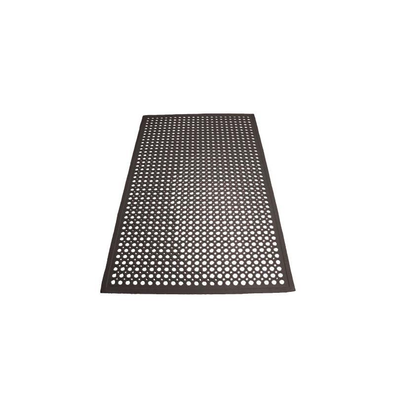 Rubber Floor Mat, 3' x 5' x 1/2 inches, Beveled Edges, Black
