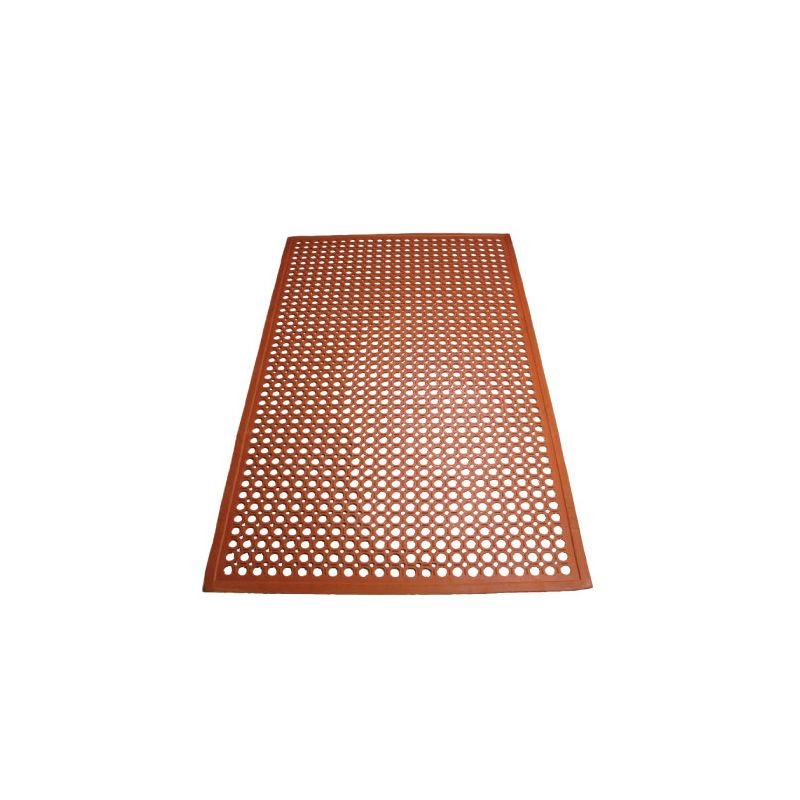 Rubber Floor Mat, 3' x 5' x 1/2 inches, Beveled Edges, Red