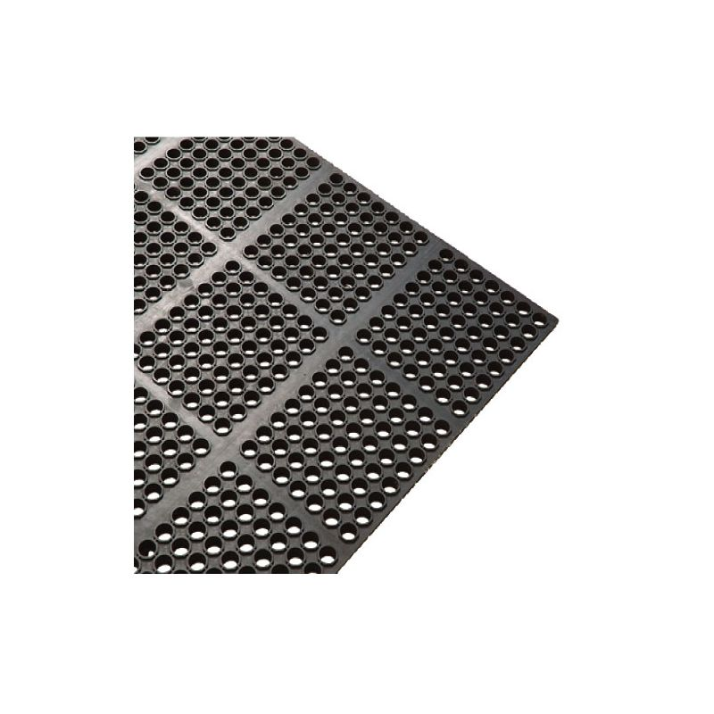 Rubber Floor Mat, 3' x 5' x 3/4 inches, Straight Edges, Anti-fatigue, Black