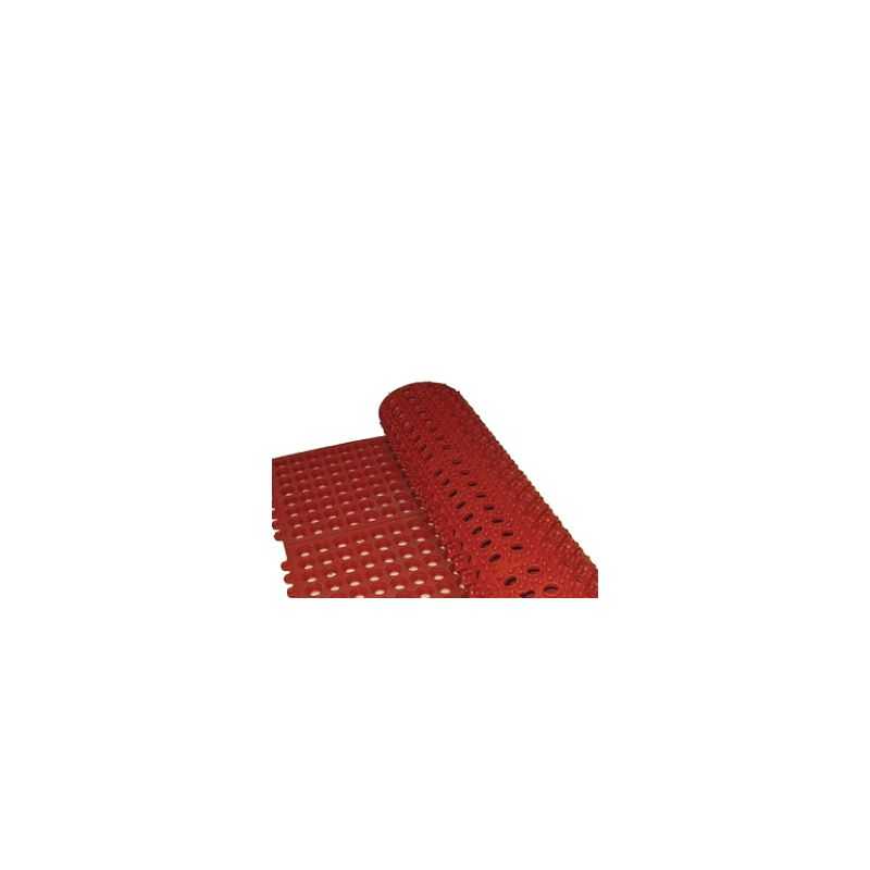 Rubber Floor Mat, 3' x 3', Interlocking, Red