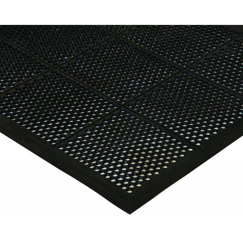 Rubber Floor Mat, 3' x 5' x 3/8 inches, Beveled Edges, Black