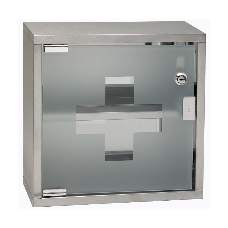 First Aid Cabinet w/Glass Door, Lockable, 12 inches x 12 inches x 4-3/4 inches, S/S