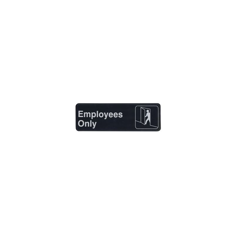 Information Sign,  inchesEmployees Only inches, 3 inches x 9 inches, Black