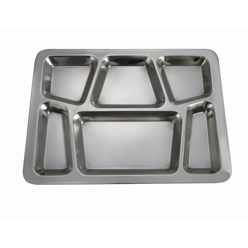 Mess Tray, 6 Compartment, Style B, S/S,15-1/2 inches x 11-1/2 inches