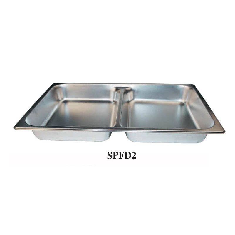 Divided Food Pan, Full-size, 2-1/2 inches, S/S