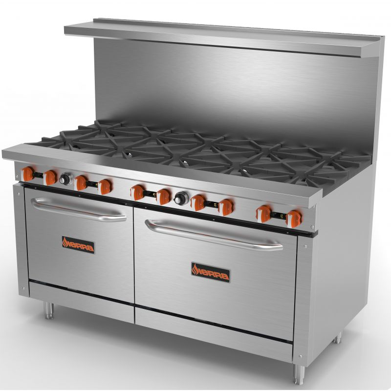 Range, gas, 60 inches, (10) 30,000 BTU open burners