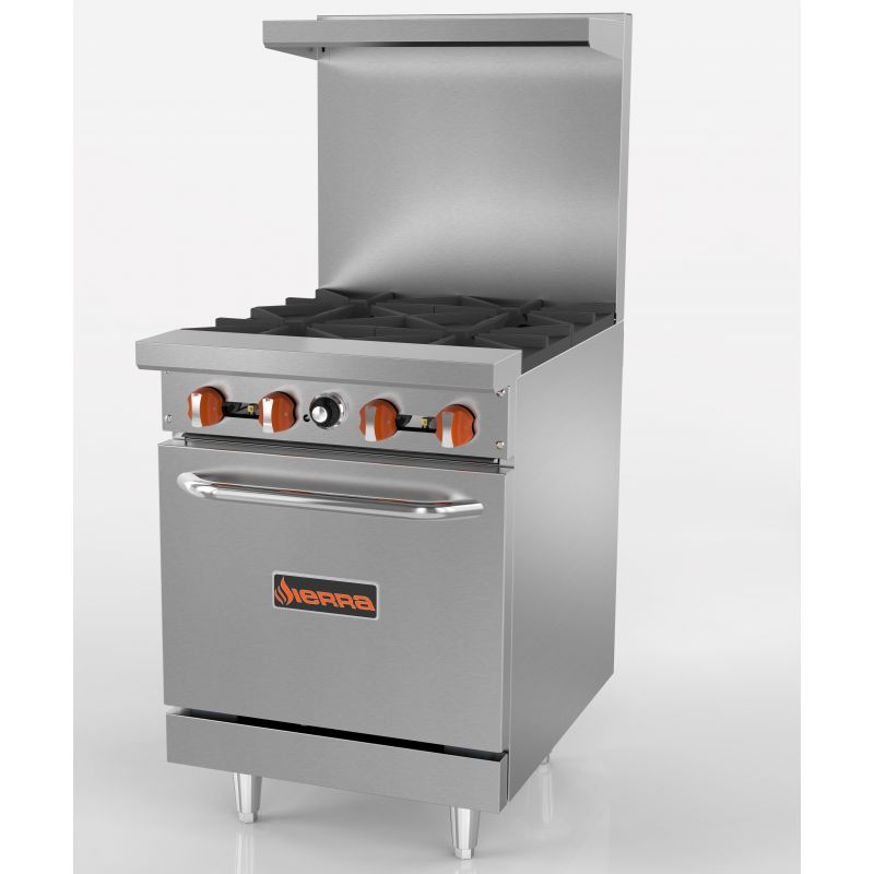 Range, gas, 24 inches, (4) 30,000 BTU open burners