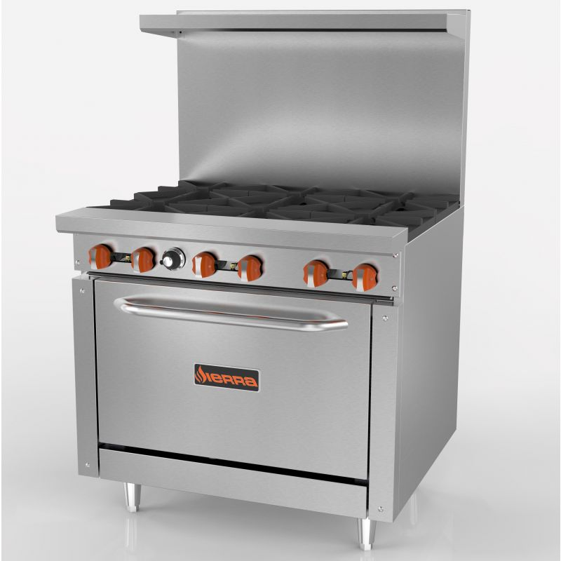 Range, gas, 36 inches, (6) 30,000 BTU open burners