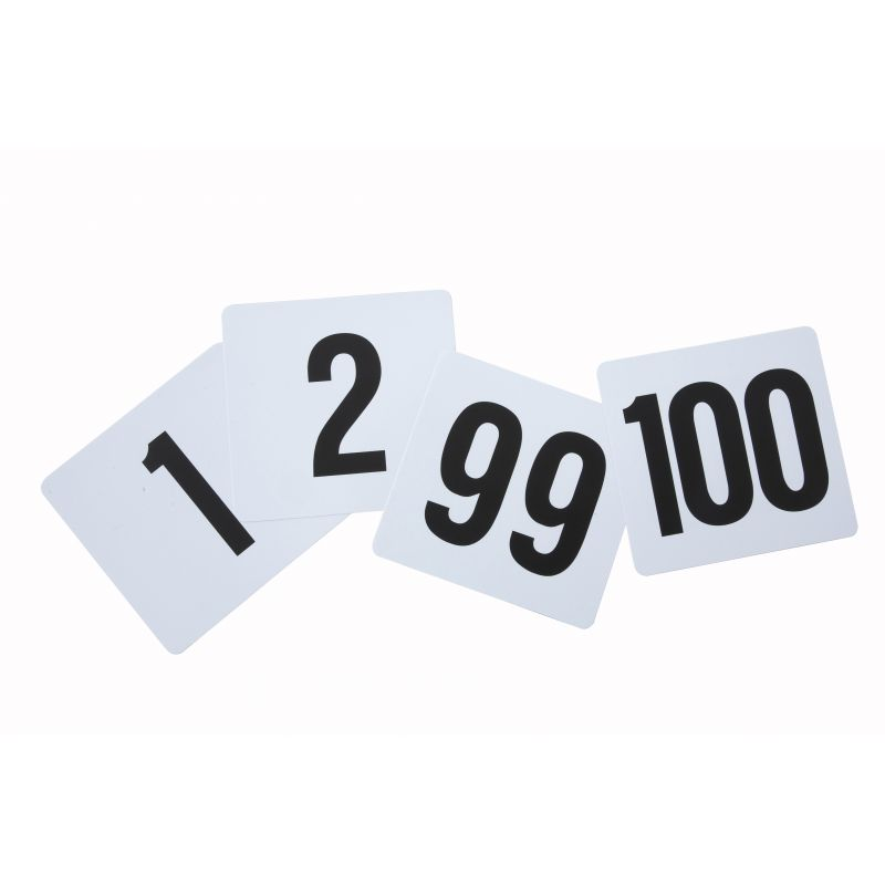 Table Numbers, 1-100, 4 inches x 3-3/4 inches, Plastic