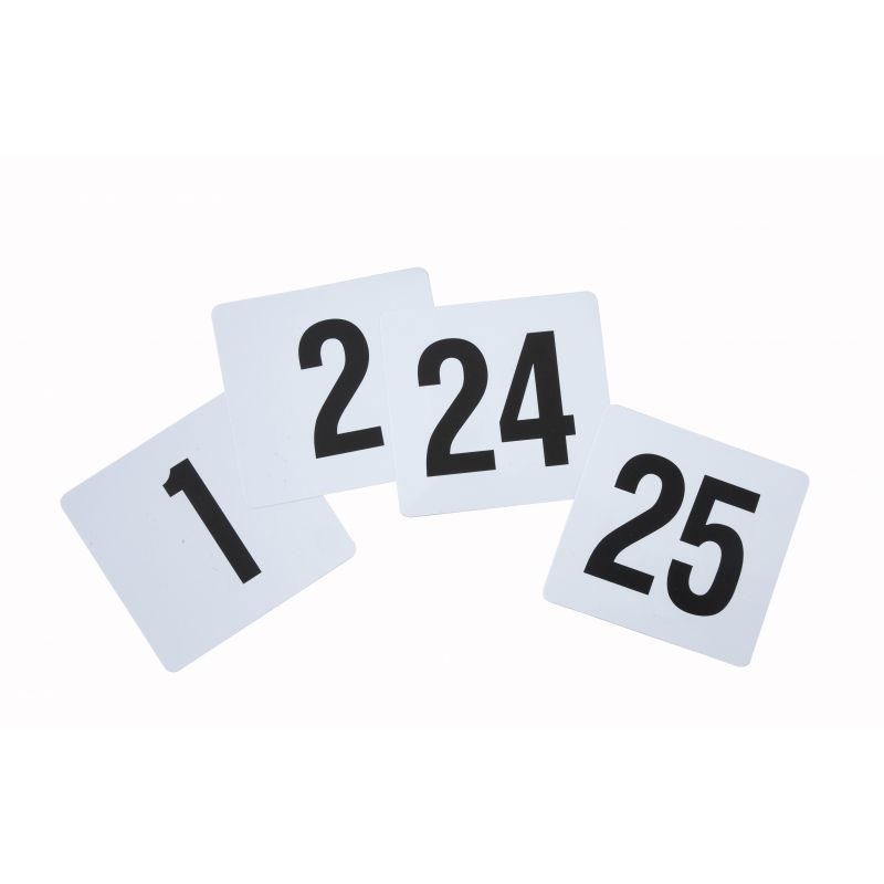 Table Numbers, 1-25, 4 inches x 3-3/4 inches, Plastic