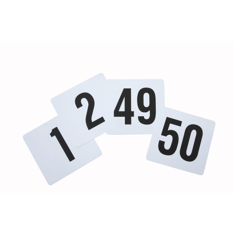 Table Numbers, 1-50, 4 inches x 3-3/4 inches, Plastic