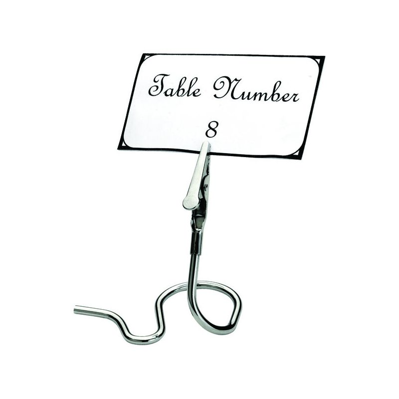 Table Sign Clips, S Swirl Base, 6pcs/pk, Chrome Plated