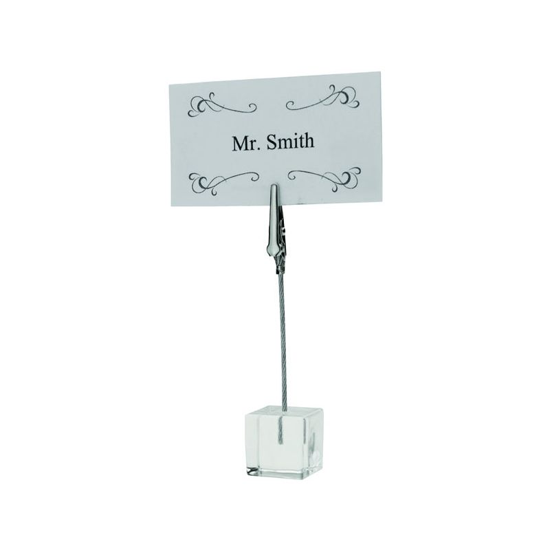 Table Sign Clips, Acrylic Square Base, 6pcs/pk, Nickel Plated