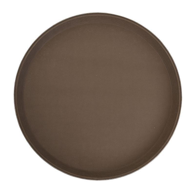 11 inches Premium Fiberglass Tray, Non-slip, Brown, Round