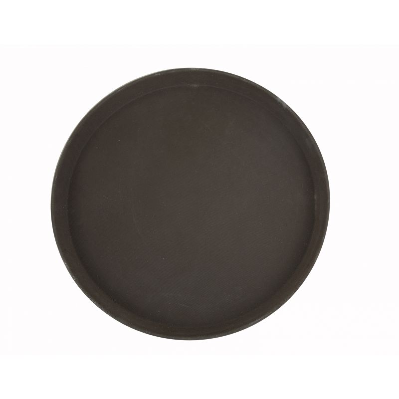 14 inches Easy Hold Rubber Lined Tray, Brown, Round