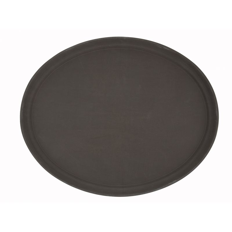 22 inches x 27 inches Easy Hold Rubber Lined Tray, Brown, Oval