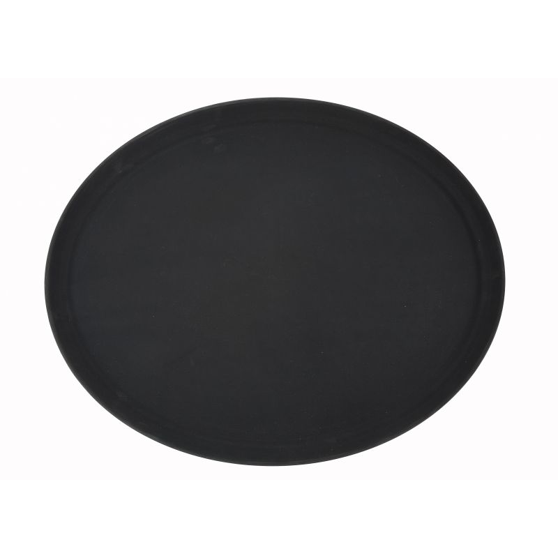 22 inches x 27 inches Easy Hold Rubber Lined Tray, Black, Oval