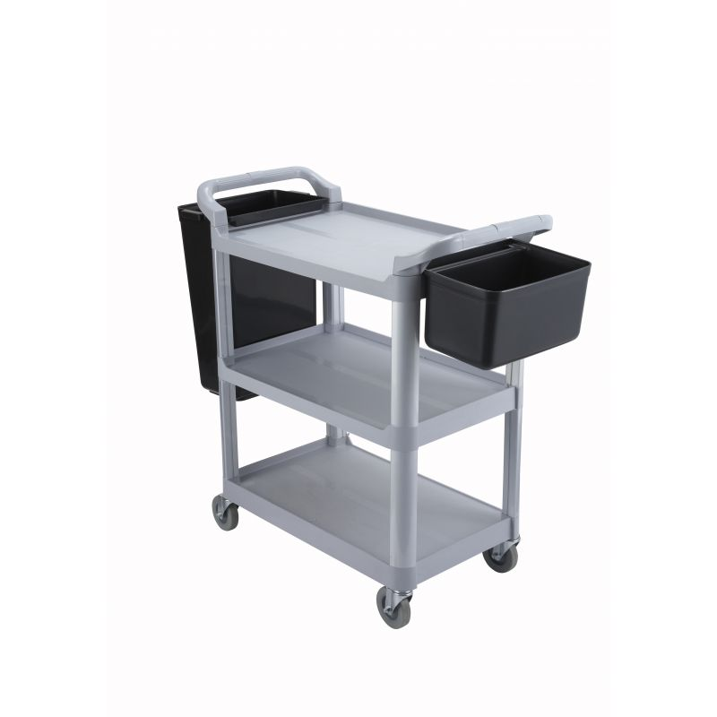 Utility Cart, 3 Tier, Gray Plastic