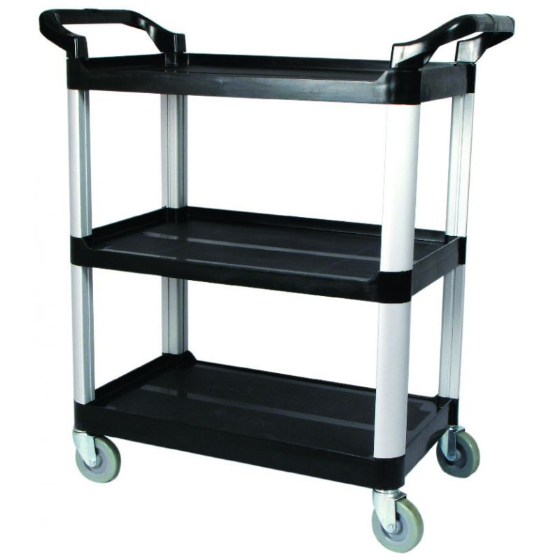 Utility Cart, 3 Tier, Black Plastic