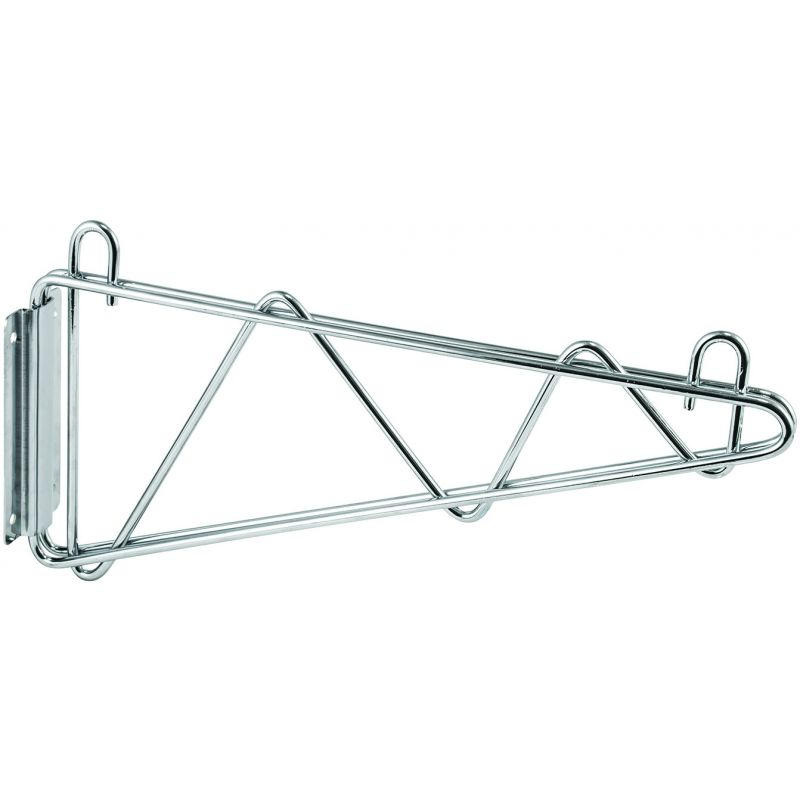 Shelving Wall Mount Brackets, Chrome Plated, 14 inchesW, 1 Pair