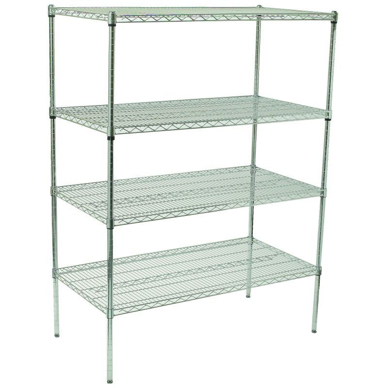 4-Tier Wire Shelving Set, Chrome Plated, 18 inches x 36 inches x 72 inches