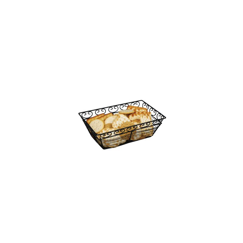 Bread/Fruit Basket, Black Wire, Rectangular, 9 inches x 5-7/8 inches x 3 inches
