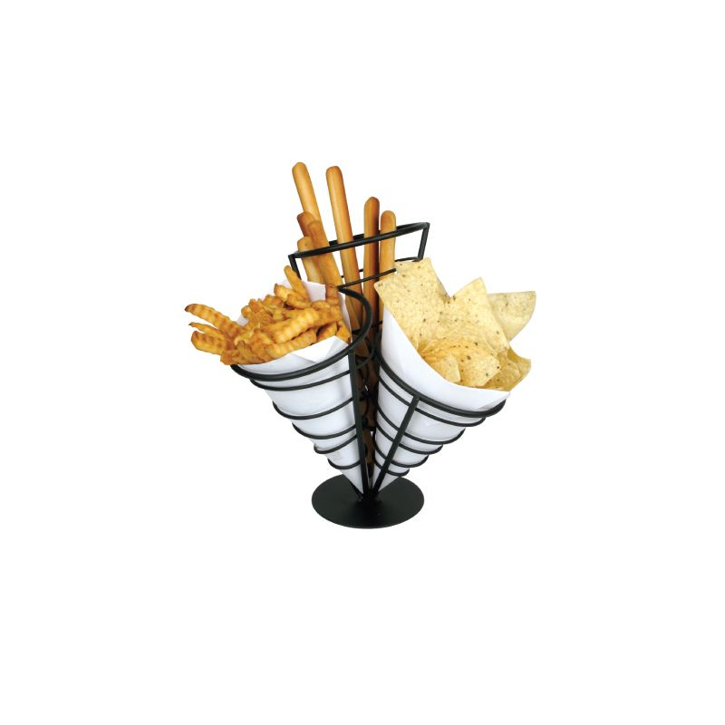 3 Cone French Fry Holder, Black Wire