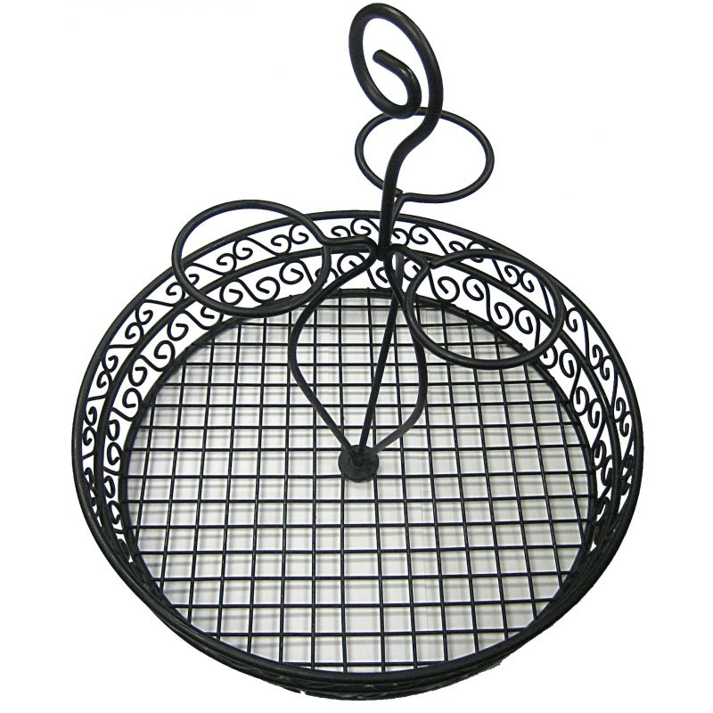 Condiment Caddy, Round w/3 Condiment Rings, 12 inches, Black Wire