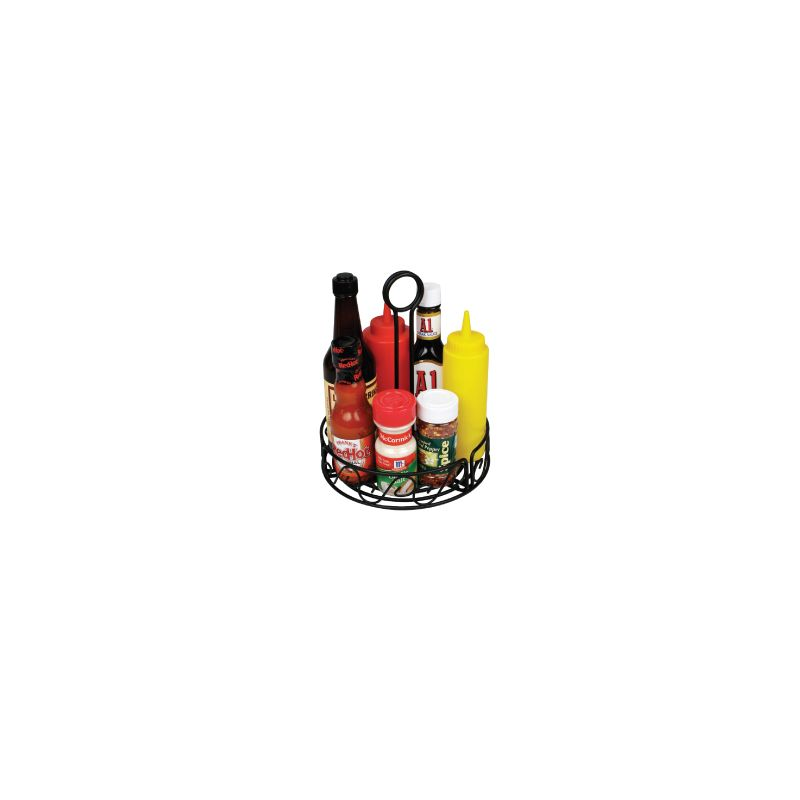 Round Condiment Caddy, 6-1/4 inches, Black Wire
