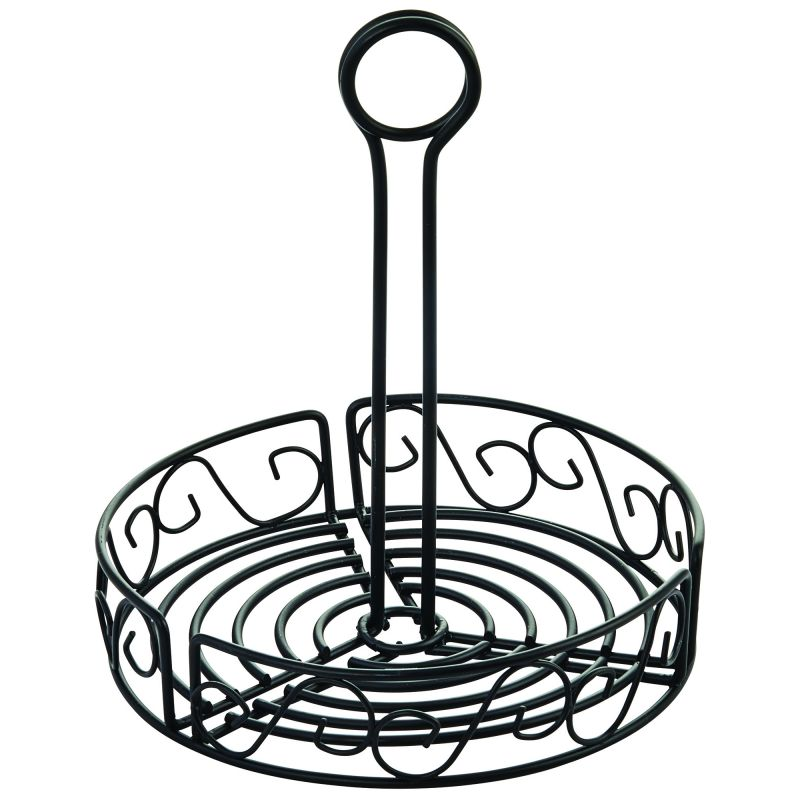 Round Condiment Caddy, 7-1/2 inches, Black Wire