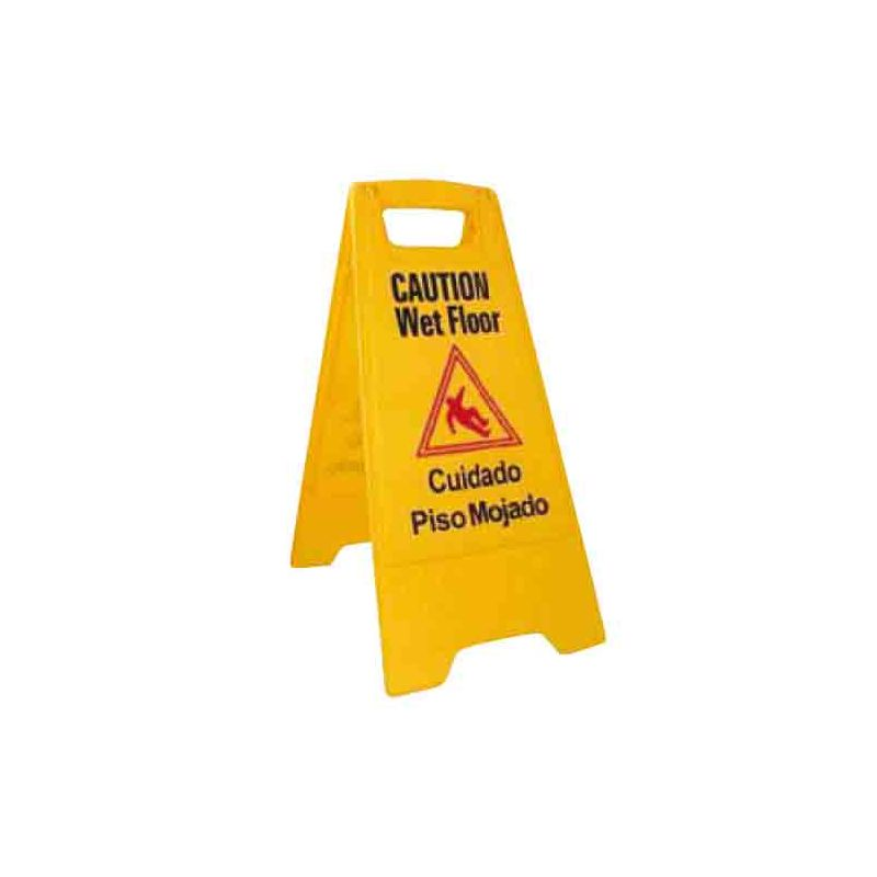 Wet Floor Caution Sign, Fold-out, Yellow