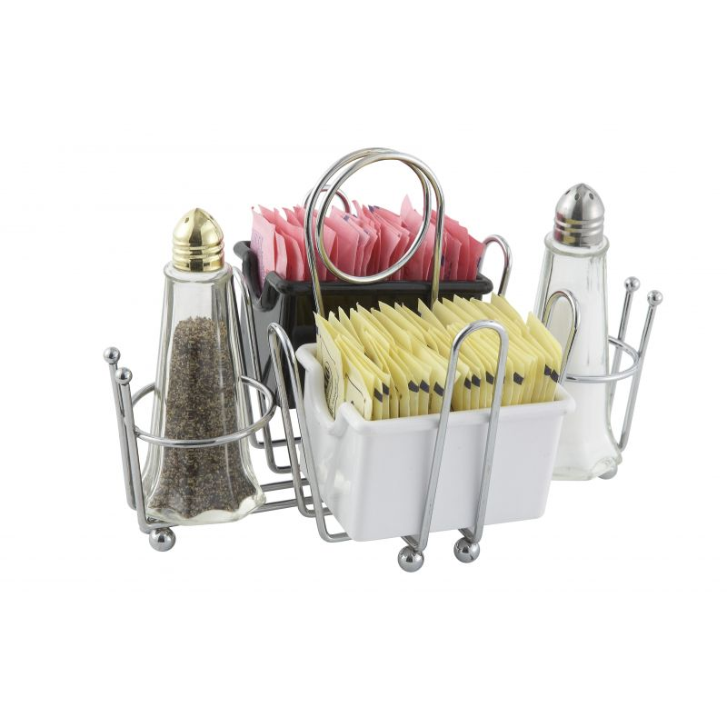 Condiment Holder, Salt/Pepper/Sugar Packets, Chrome Plated Wire