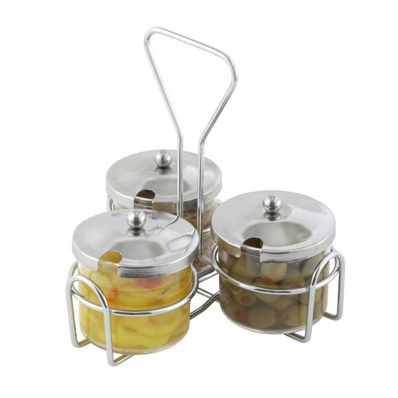 Condiment Holder, 3 Jar Rings, Chrome Plated Wire