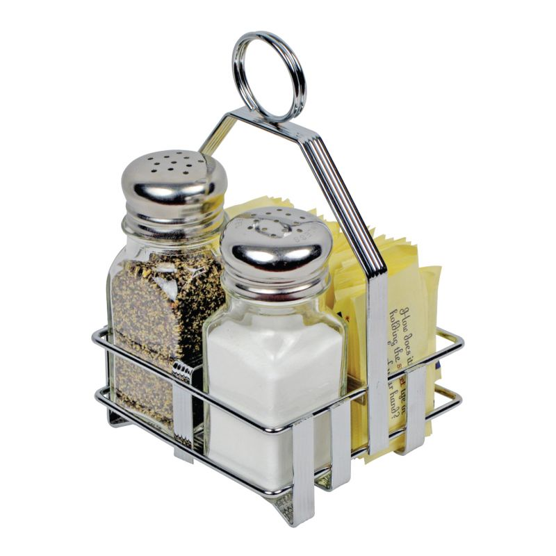 Condiment Holder, Salt/Pepper/Sugar Packets, Chrome Plated